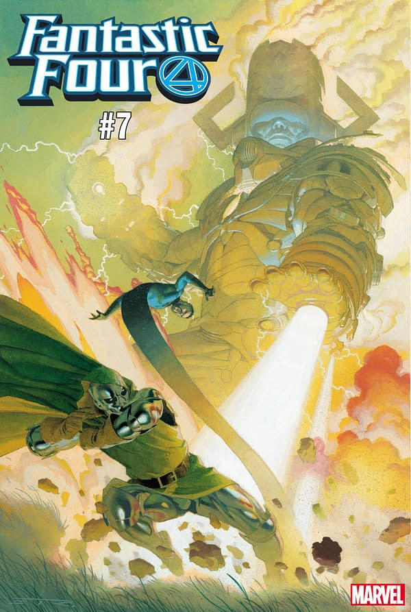 Doctor Doom Takes on Galactus in Esad Ribic's Fantastic Four #7 Cover