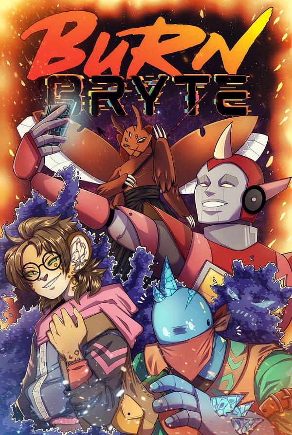 Key art for the cover of Burn Bryte, a role-playing game created by Roll20 for use on their online client.