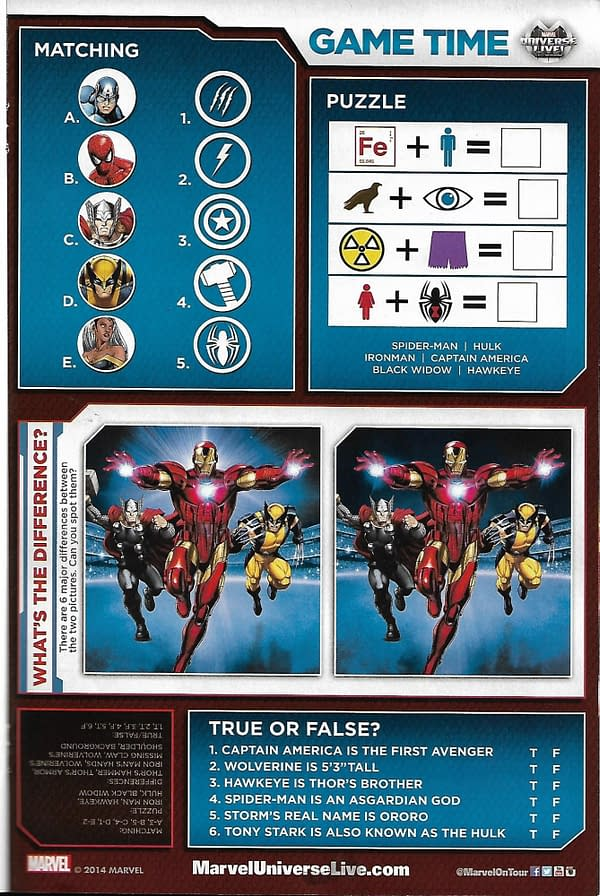 Marvel Universe LIVE! Prelude #1 Activity Page
