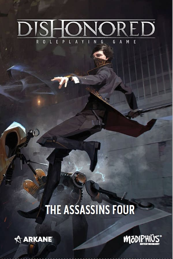 A look at the cover for the Dishonored adventure The Assassin's Four, courtesy of Modiphius Games.