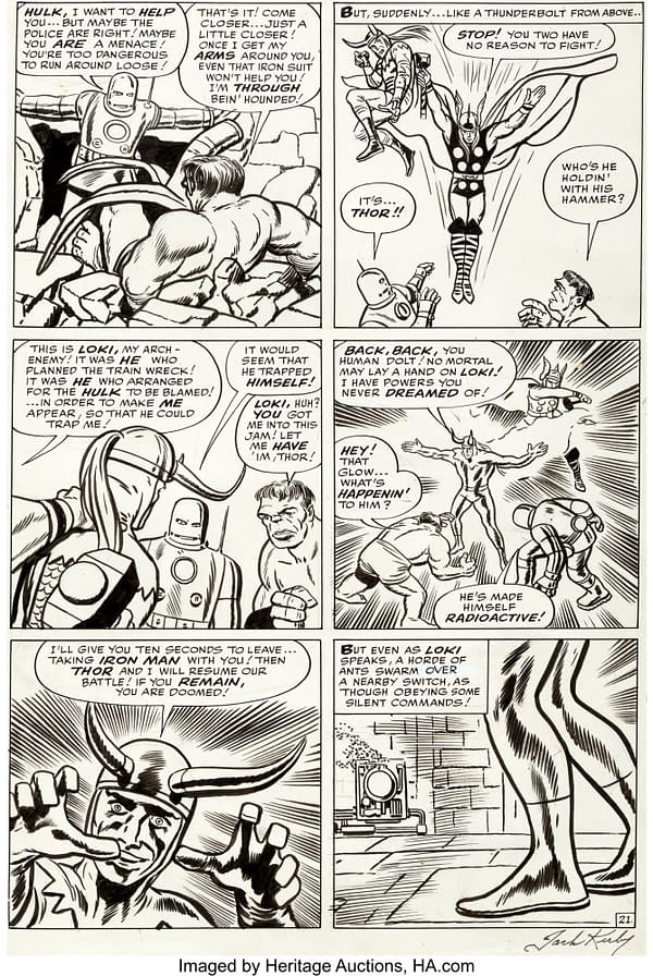 Jack Kirby Original Artwork From Avengers #1, With Loki, At Auction