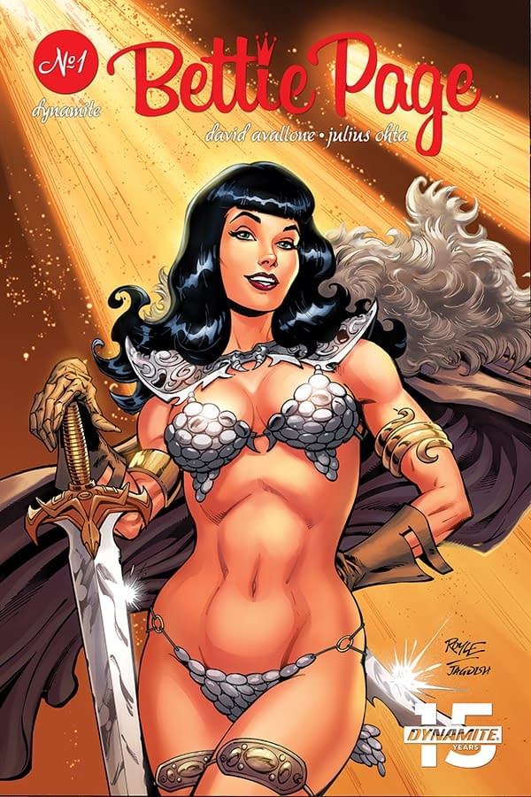 Bettie Page Cosplays as Red Sonja in Bettie Page Unbound