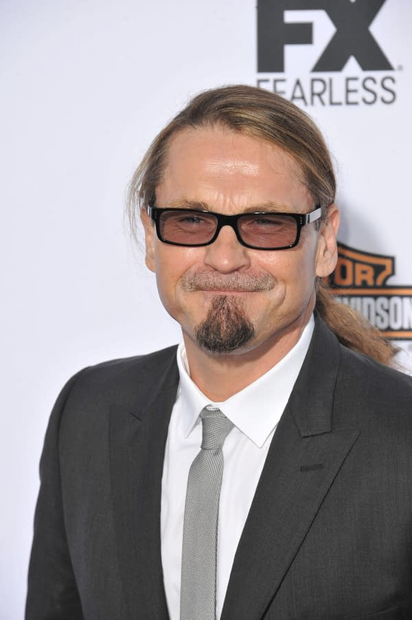 """SEPTEMBER 7, 2013: Kurt Sutter at the season 6 premiere of """"Sons of Anarchy"""" at the Dolby Theatre, Hollywood. Editorial credit: Jaguar PS / Shutterstock.com"""