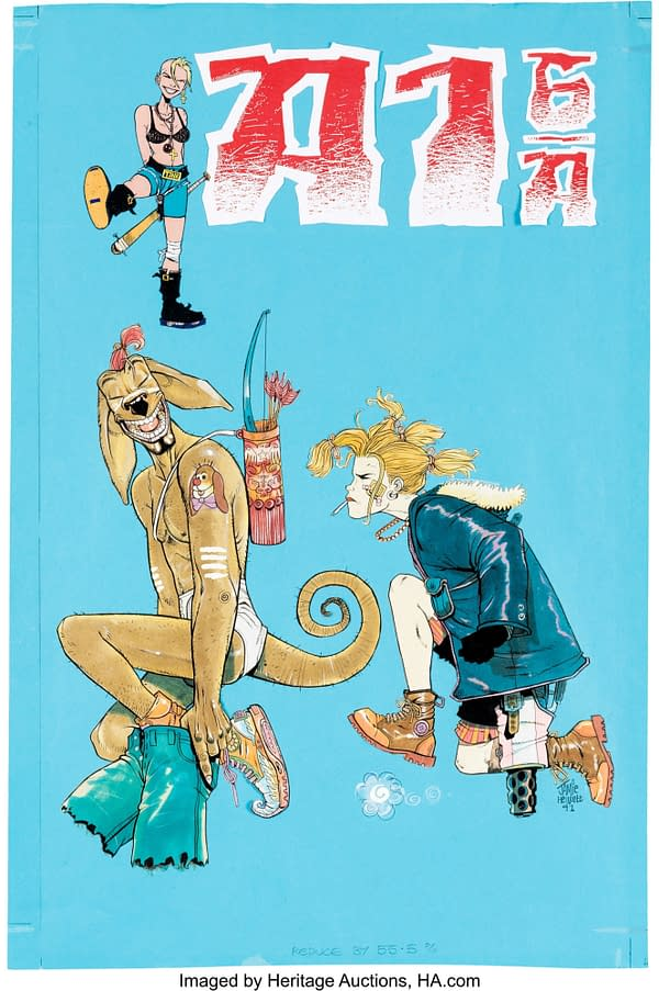 Jamie Hewlett Colour Tank Girl Cover From 1992, Up For Auction.