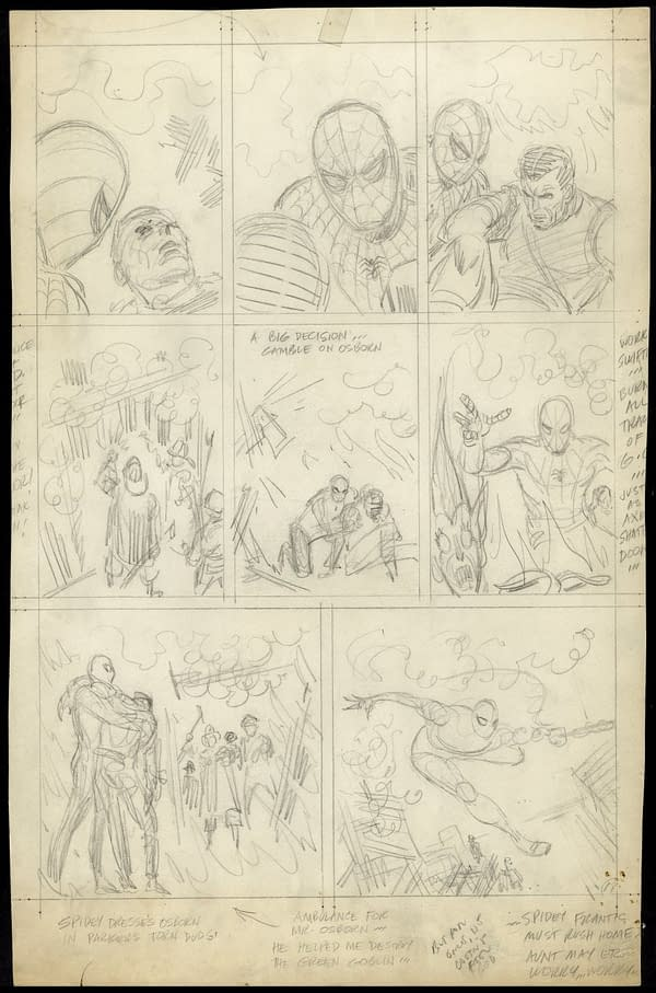 John Romita unused Spider-Man art page.
