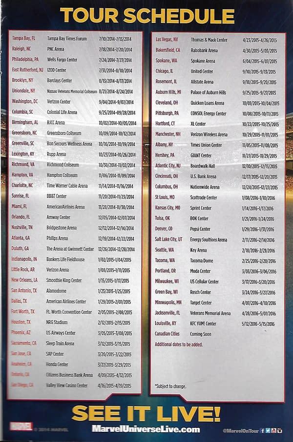 Marvel Universe LIVE! Tour Schedule
