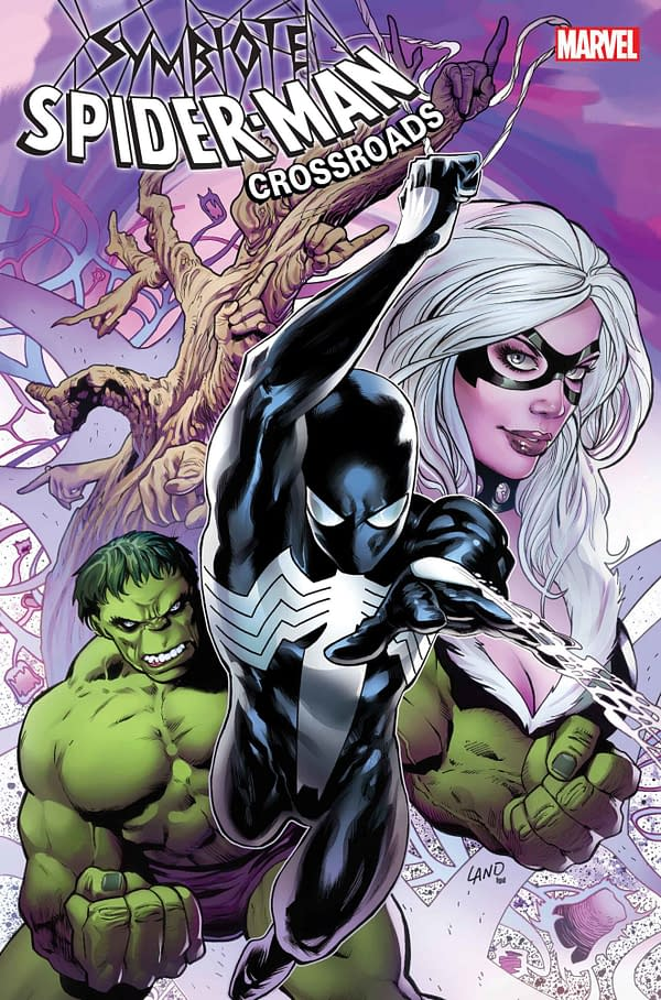"""The cover to Symbiote Spider-Man: Crossroads #1, written by Peter David with """"art"""" by Greg Land, in stores from Marvel Comics in July, $4.99 cheap!"""
