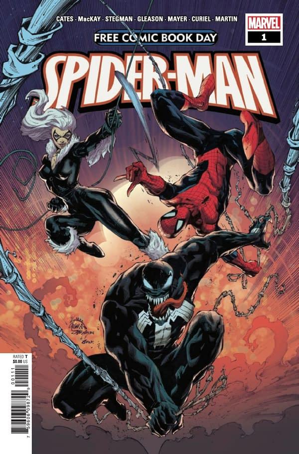 Spider-Man FCBD has a Jed MacKay Black Cat story and a Donny Cates Venom story. Credit: Marvel Comics.