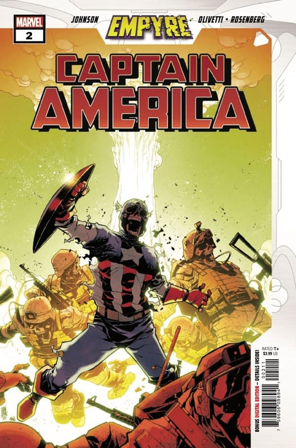 Phillip Kennedy Johnson and Ariel Olivetti's Empyre: Captain America has been a thrilling tie-in. Credit: Marvel Comics