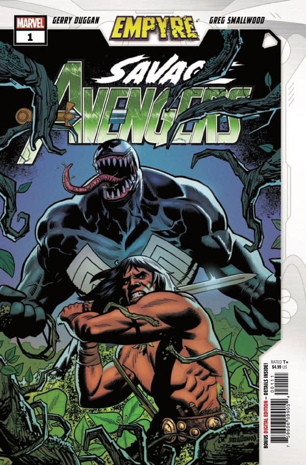 Empyre: Savage Avengers #1 spotlights Conan and Venom. Credit: Marvel Comics.