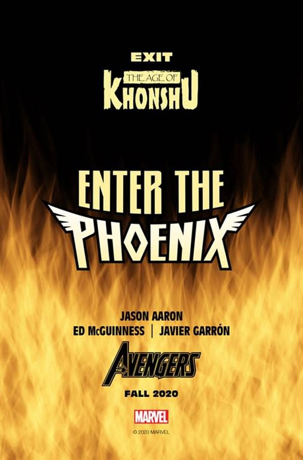 Jason Aaron, Ed McGuinness, Javier Garron Enter The Phoenix in Avenges in December 2020.