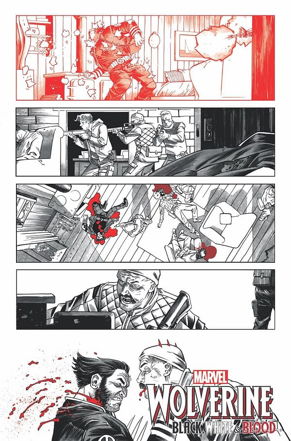 WOLVERINE: BLACK, WHITE & BLOOD #1 preview interiors by Declan Shalvey