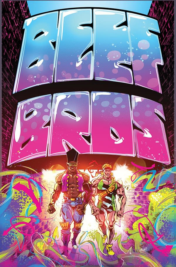 The cover to Beef Bros by Aubrey Sitterson, Tyrell Cannon, Fico Ossio, and Taylor Esposito