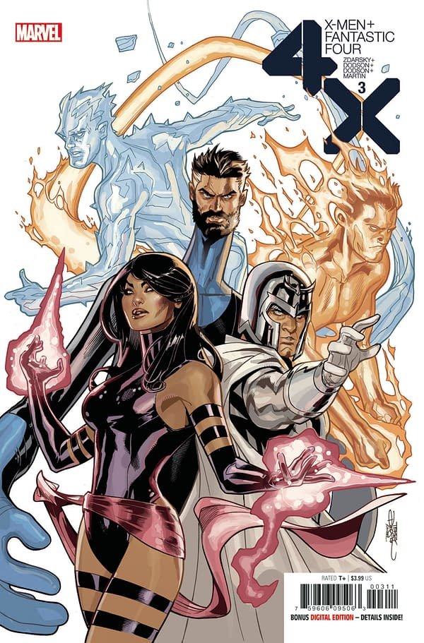 The cover to X-Men/Fantastic Four #3 from Marvel Comics, with art by Terry Dodson and Rachel Dodson.