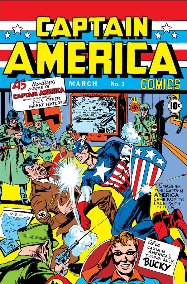 Captain America, created by Jack Kirby and Joe Simon, punches Adolph Hitler on the cover of Captain America Comics #1