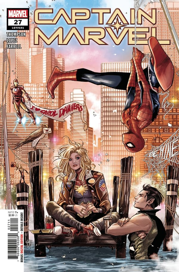 The main cover to Captain Marvel #27 by Marco Checchetto, from Marvel Comics.