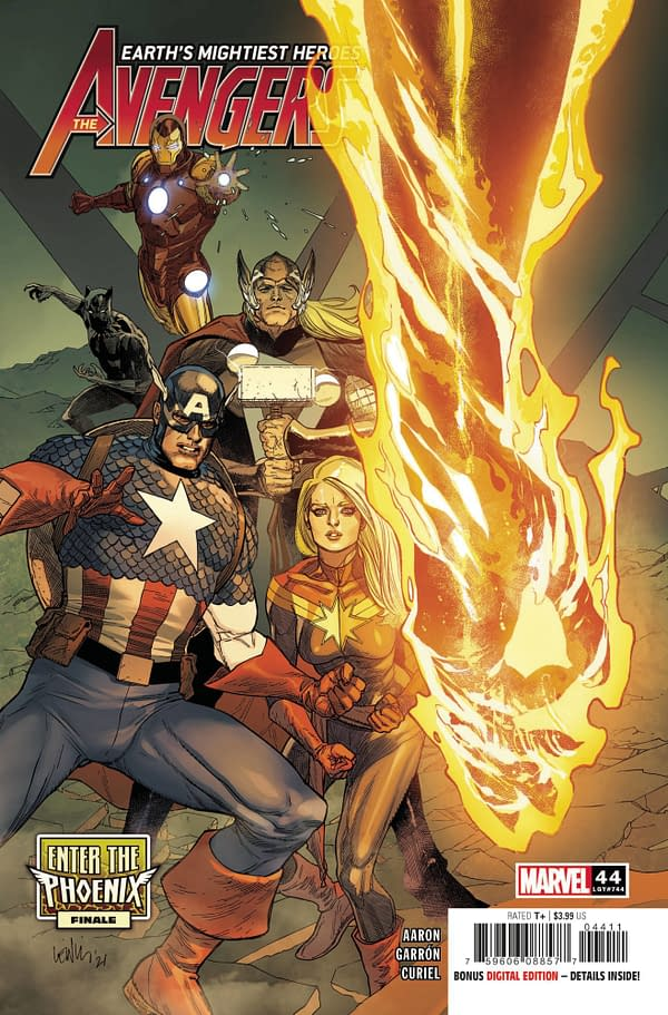 Leinil Francis Yu's cover to Avengers #44, by Jason Aaron and Javi Garron, in stores from Marvel Comics on April 7th, 2021.