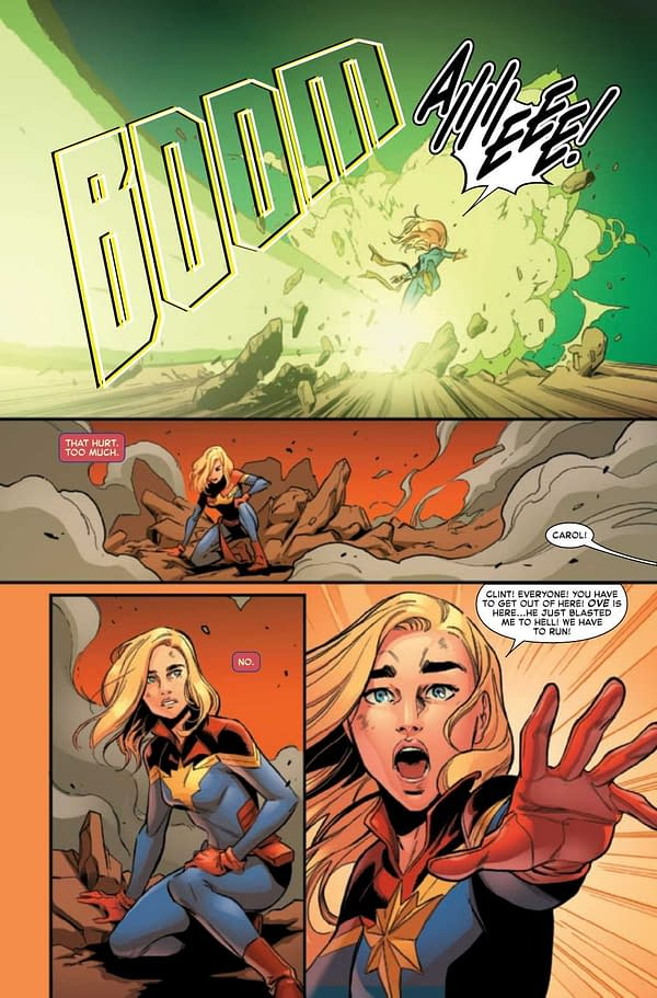 An interior preview page from Captain Marvel #28, by Kelly Thompson and Jacopo Camagni, in stores from Marvel Comics on April 21st, 2021