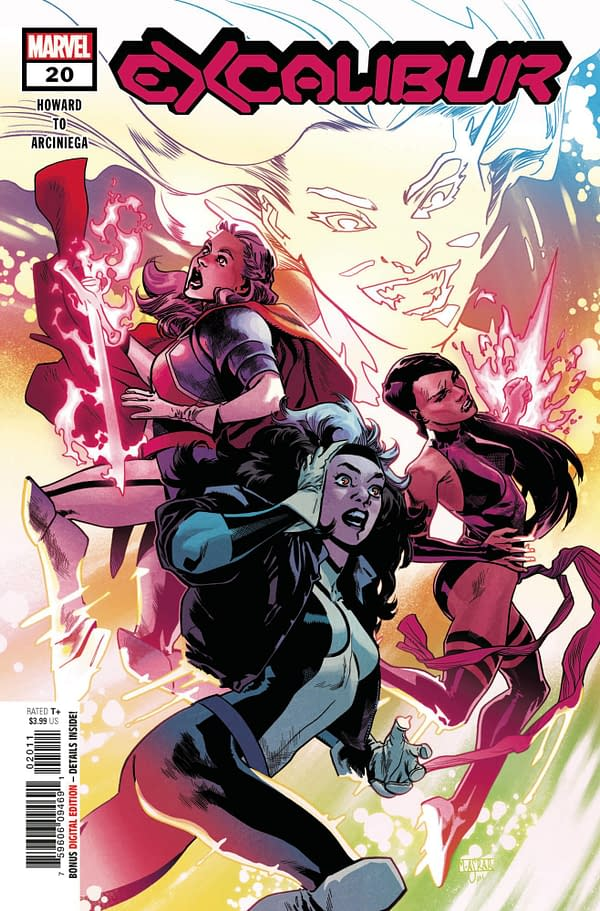 Mahmud Asrar's cover to Excalibur #20, by Tini Howard and Marcus To, in stores from Marvel Comics on Wednesday, April 7th, 2021.
