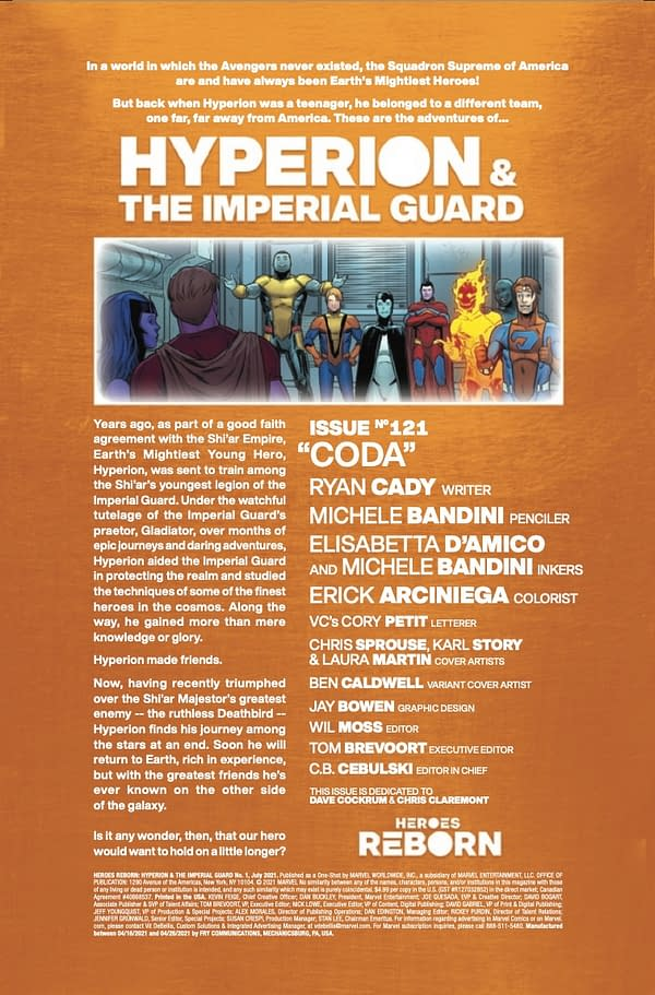 Interior preview page from HEROES REBORN HYPERION AND IMPERIAL GUARD #1