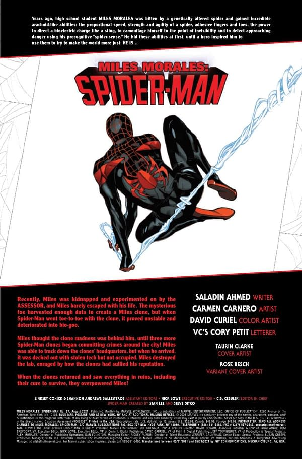 Interior preview page from MILES MORALES SPIDER-MAN #27