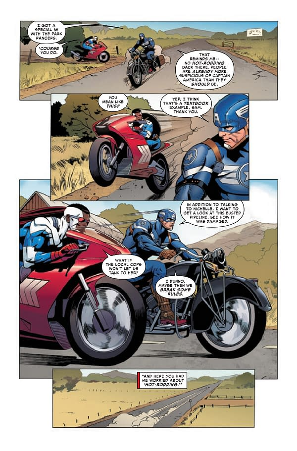 Interior preview page from MAY210563 UNITED STATES OF CAPTAIN AMERICA #2 (OF 5), by (W) Mohale Mashigo, Christopher Cantwell (A) Dale Eaglesham, Natacha Bustos (CA) Gerald Parel, in stores Wednesday, July 28, 2021 from MARVEL COMICS
