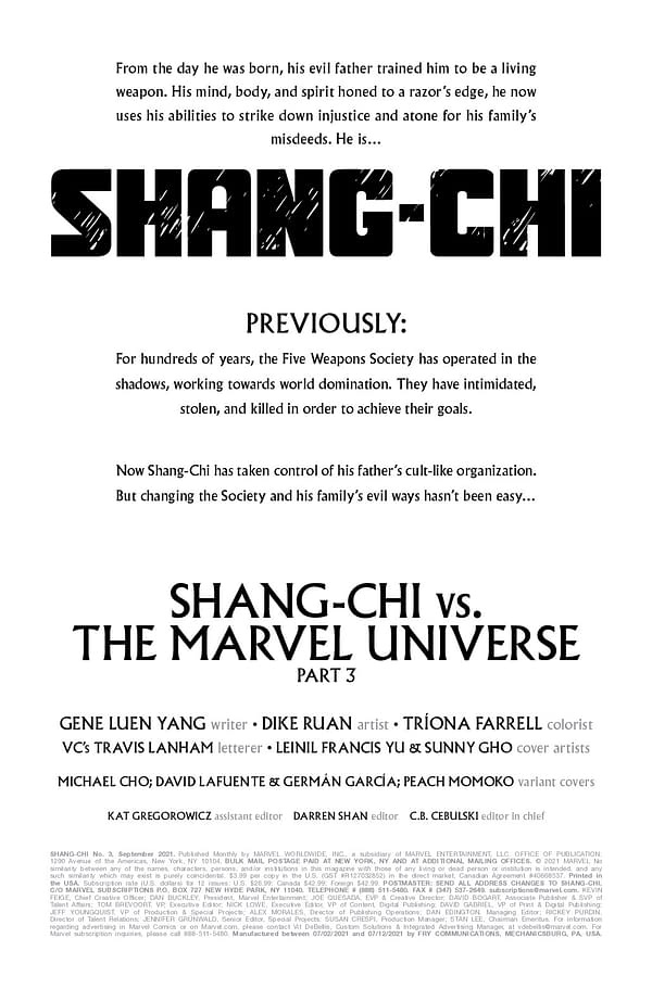 Interior preview page from SHANG-CHI #3