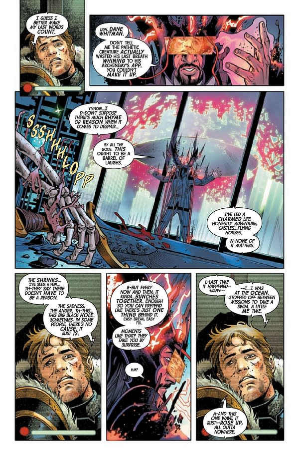Interior pInterior preview page from MAY210642 BLACK KNIGHT CURSE OF THE EBONY BLADE #5 (OF 5), by (W) Simon Spurrier (A) Sergio Davila (CA) Iban Coello, in stores Wednesday, July 28, 2021 from MARVEL COMICS page from BLACK KNIGHT CURSE EBONY BLADE #5 (OF 5)