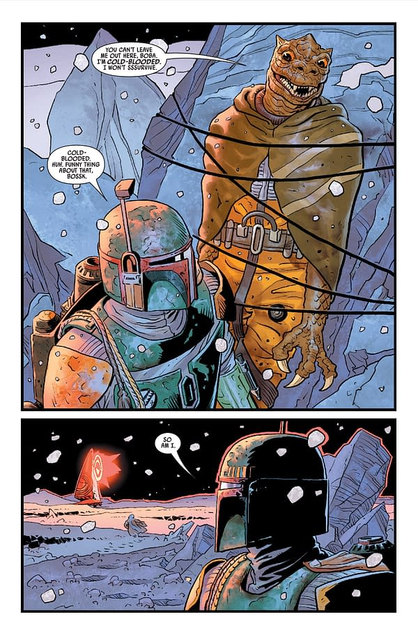 Interior preview page from MAY210670 STAR WARS WAR OF THE BOUNTY HUNTERS #2 (OF 5), by (W) Charles Soule (A) Luke Ross (CA) Steve McNiven, in stores Wednesday, July 14, 2021 from MARVEL COMICS
