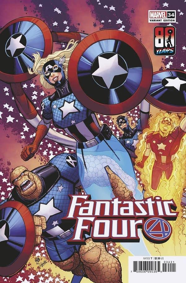Cover image for FANTASTIC FOUR #34 BRADSHAW CAPTAIN AMERICA 80TH VAR