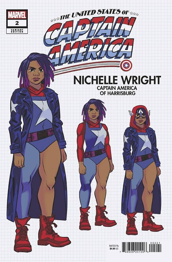 Cover image for MAY210564 UNITED STATES OF CAPTAIN AMERICA #2 (OF 5) BUSTOS DESIGN VAR, by (W) Christopher Cantwell, Mohale Mashigo (A) Dale Eaglesham (A / CA) Natacha Bustos, in stores Wednesday, July 28, 2021 from MARVEL COMICS
