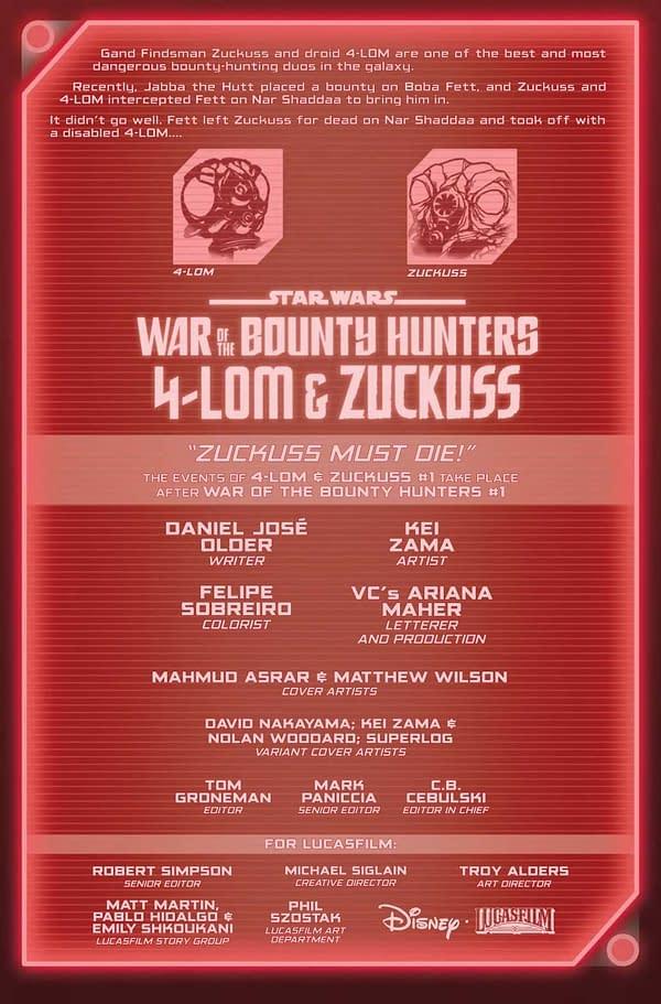 Interior preview page from JUN210736 STAR WARS WAR BOUNTY HUNTERS 4-LOM & ZUCKUSS #1, by (W) Daniel Jose Older (A) Kei Zama (CA) Mahmud Asrar, in stores Wednesday, August 4, 2021 from MARVEL COMICS
