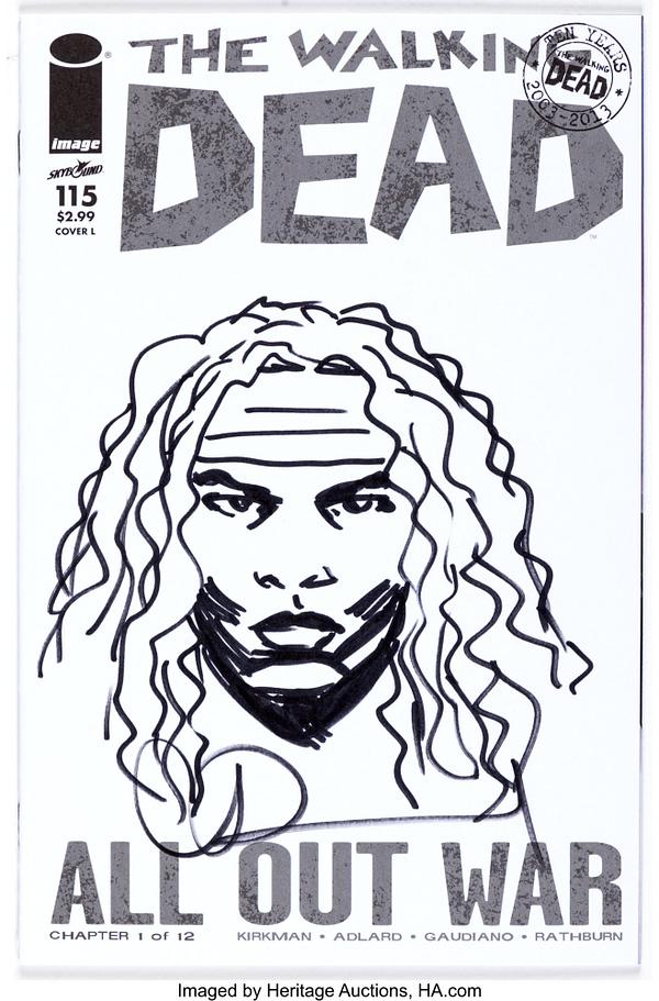 Charlie Adlard The Walking Dead # 115 Blank Cover Sketch Variant Michonne Art Original.  Credit: Heritage