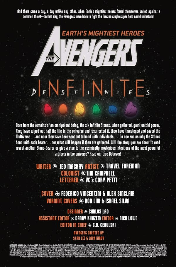 Interior preview page from AVENGERS ANNUAL #1 INFD