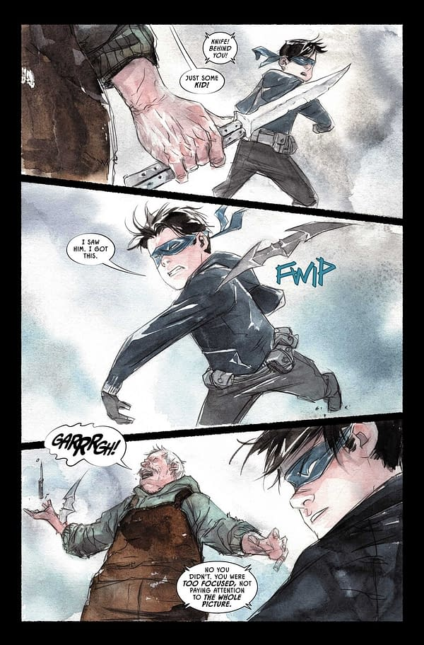 Interior preview page from Robin & Batman #1, by Jeff Lemire and Dustin Nguyen, hitting stores from DC Comics in November