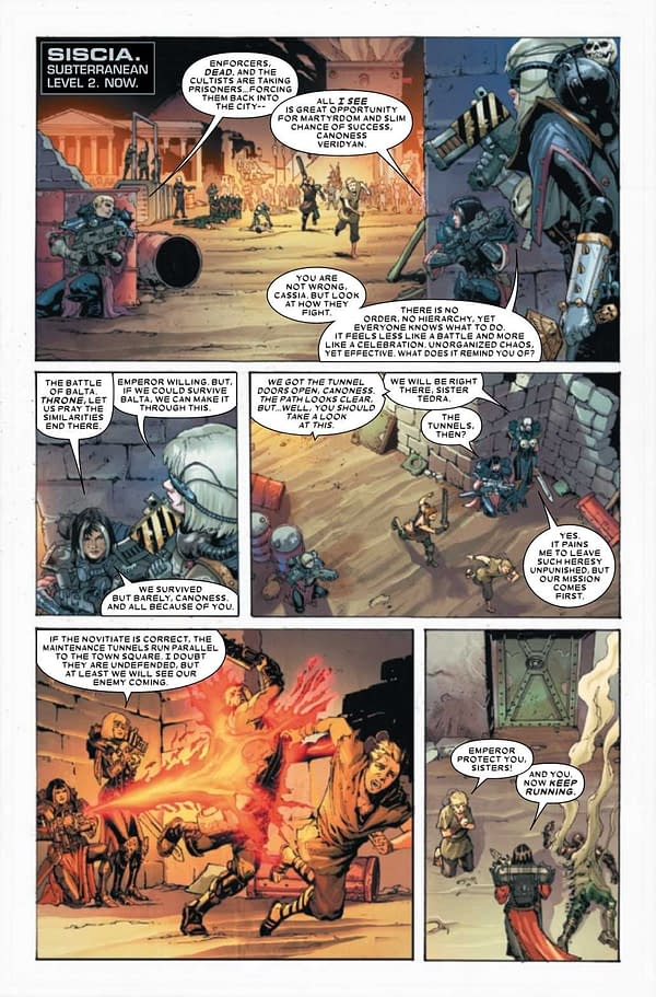 Interior preview page from JUL210631 WARHAMMER 40K SISTERS OF BATTLE #2 (OF 5), by (W) Torunn Gronbekk (A) Edgar Salazar (CA) Dave Wilkins, in stores Wednesday, September 15, 2021 from MARVEL COMICS