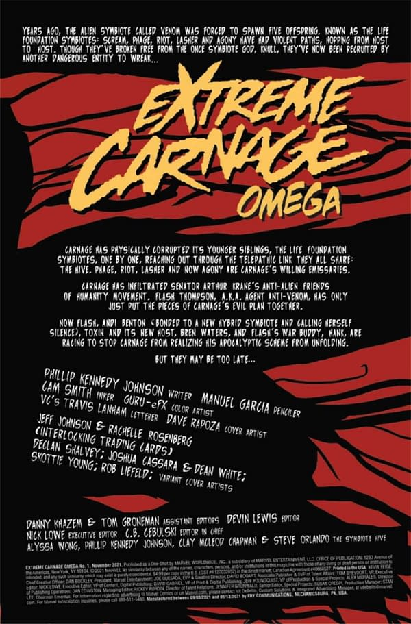 Interior preview page from EXTREME CARNAGE OMEGA #1