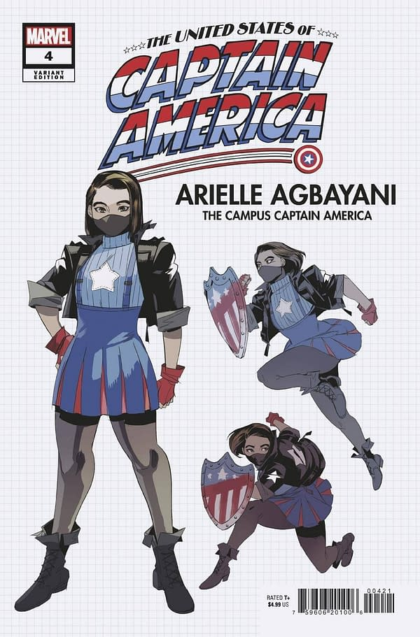 Cover image for JUL210702 UNITED STATES OF CAPTAIN AMERICA #4 (OF 5) NISHIJIMA DESIGN VAR, by (W) Christopher Cantwell, Alyssa Wong (A) Ron Lim (A / CA) Jodi Nishijima, in stores Wednesday, September 22, 2021 from MARVEL COMICS