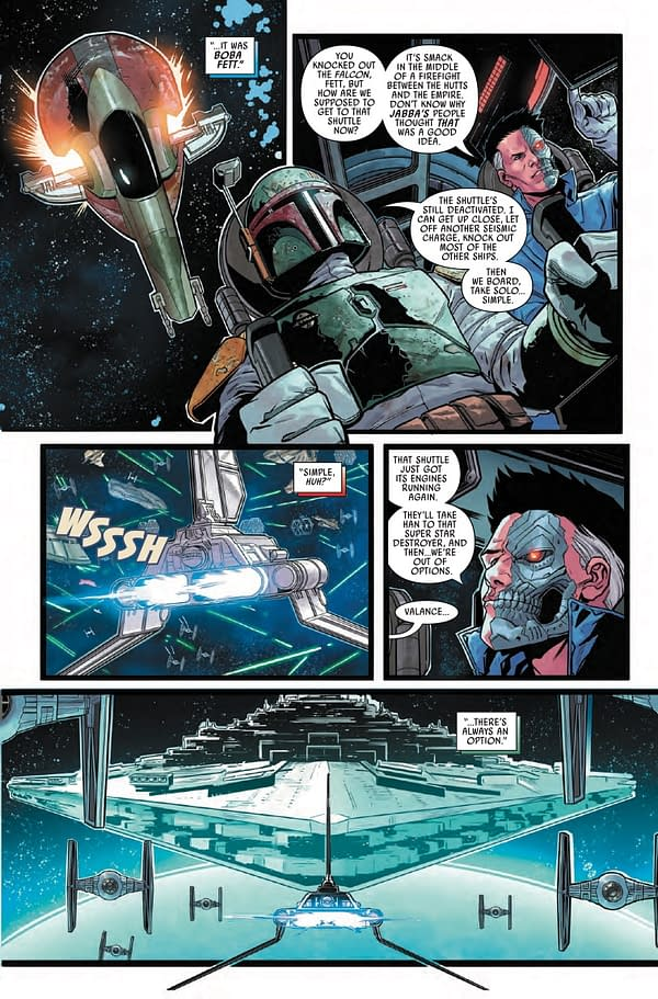 Interior preview page from AUG211236 STAR WARS WAR OF THE BOUNTY HUNTERS #5 (OF 5), by (W) Charles Soule (A) Luke Ross (CA) Steve McNiven, in stores Wednesday, October 13, 2021 from MARVEL COMICS