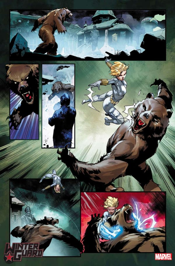 Interior art from Winter Guard #1, by Ryan Cady and Jan Bazaldua, hitting stores in August from Marvel Comics