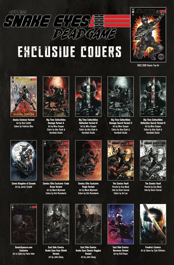 Snake Eyes: Deadgame will have 36 EXXXCLUSSSSSIVE variant covers.