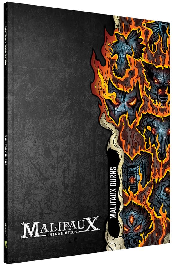 The front cover for Malifaux Burns, a new expansion rulebook for the third edition of Malifaux by Wyrd Games.