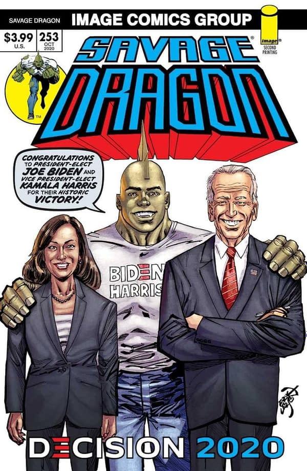 Joe Biden And Kamala Harris On Savage Dragon New Printing