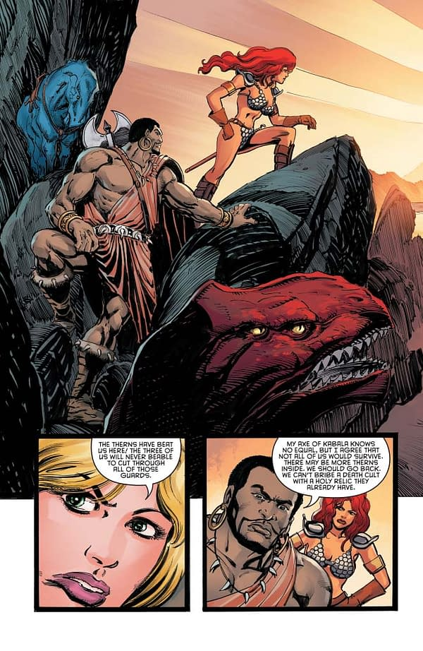 Exclusive Extended Previews of Bettie Page #6, Vampirella #9, and Pathfinder Worldscape