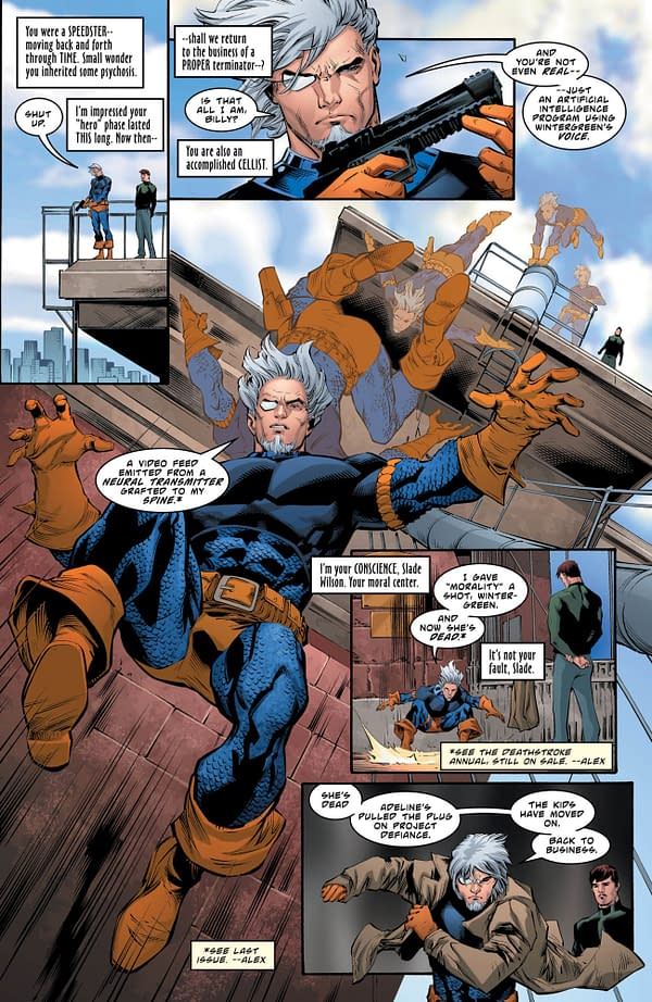 Deathstroke #28 art by Diogenes Neves, Trevor Scott, and Jeromy Cox