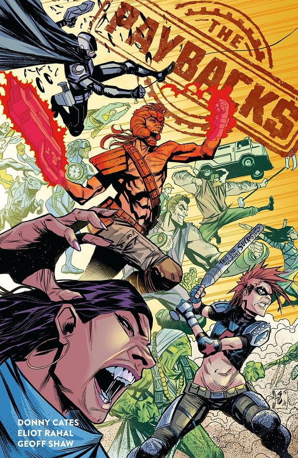 Donny Cates, Eliot Rahal, and Geoff Shaw's Superhero Parody 'The Paybacks' Collected at Dark Horse