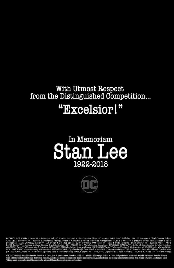DC Comics' Tribute to Stan Lee in Today's Comics