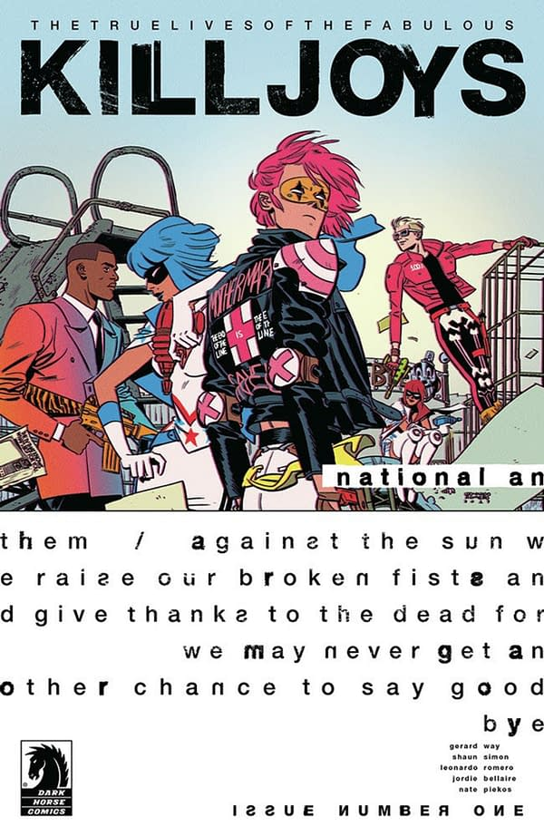 Gerard Way returns with The True Lives of the Fabulous Killjoys: National Anthem #1 cover. Credit: Dark Horse Comics.