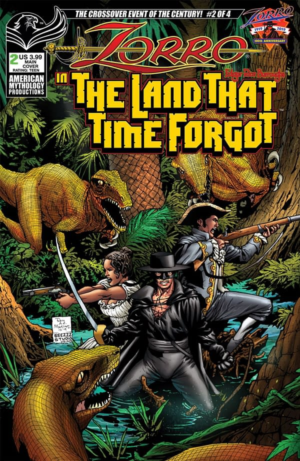 Zorro Enters The Land That Time Forgot in new crossover. Credit: American Mythology