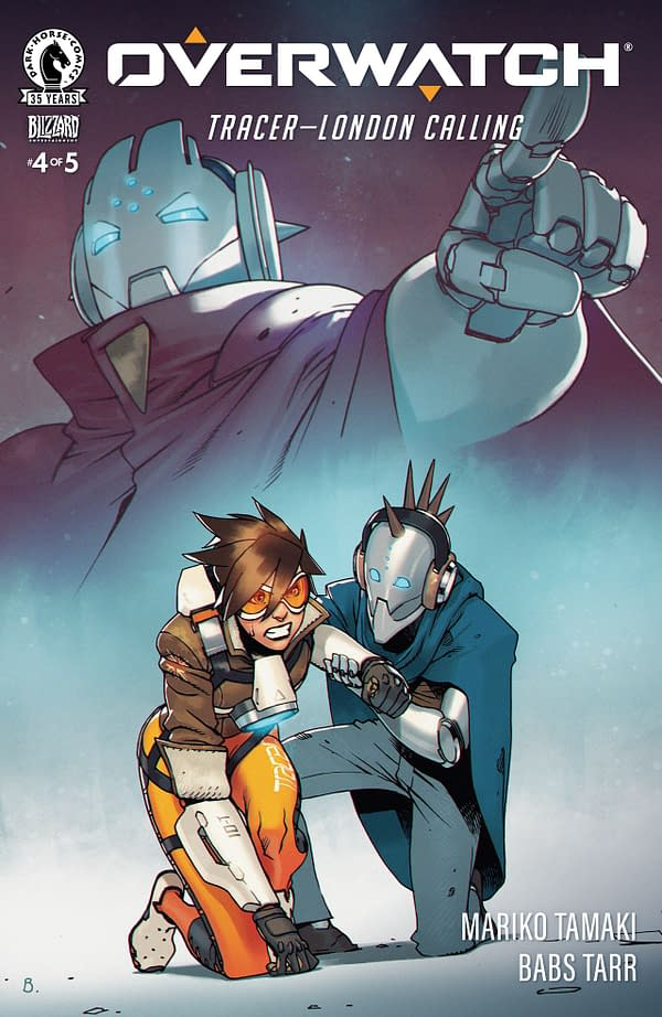 A look at the cover for Overwatch: Tracer - London Calling #4, courtesy of Dark Horse Comics.